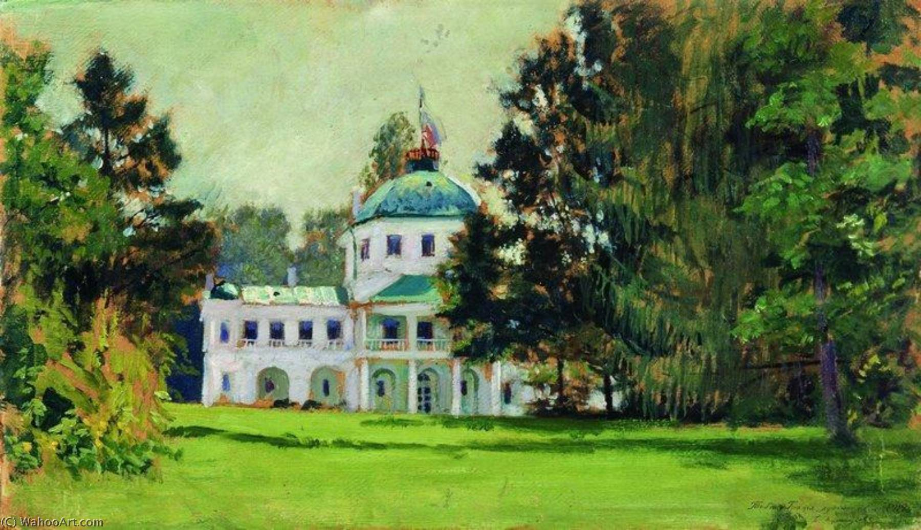House in the Park, Oil On Canvas by Boris Mikhaylovich Kustodiev (1878-1927, Russia)