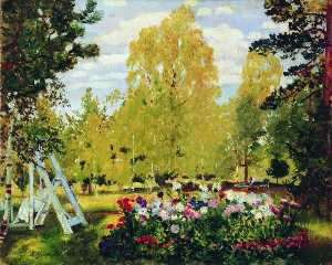 Boris Mikhaylovich Kustodiev - Landscape with a Flower Bed