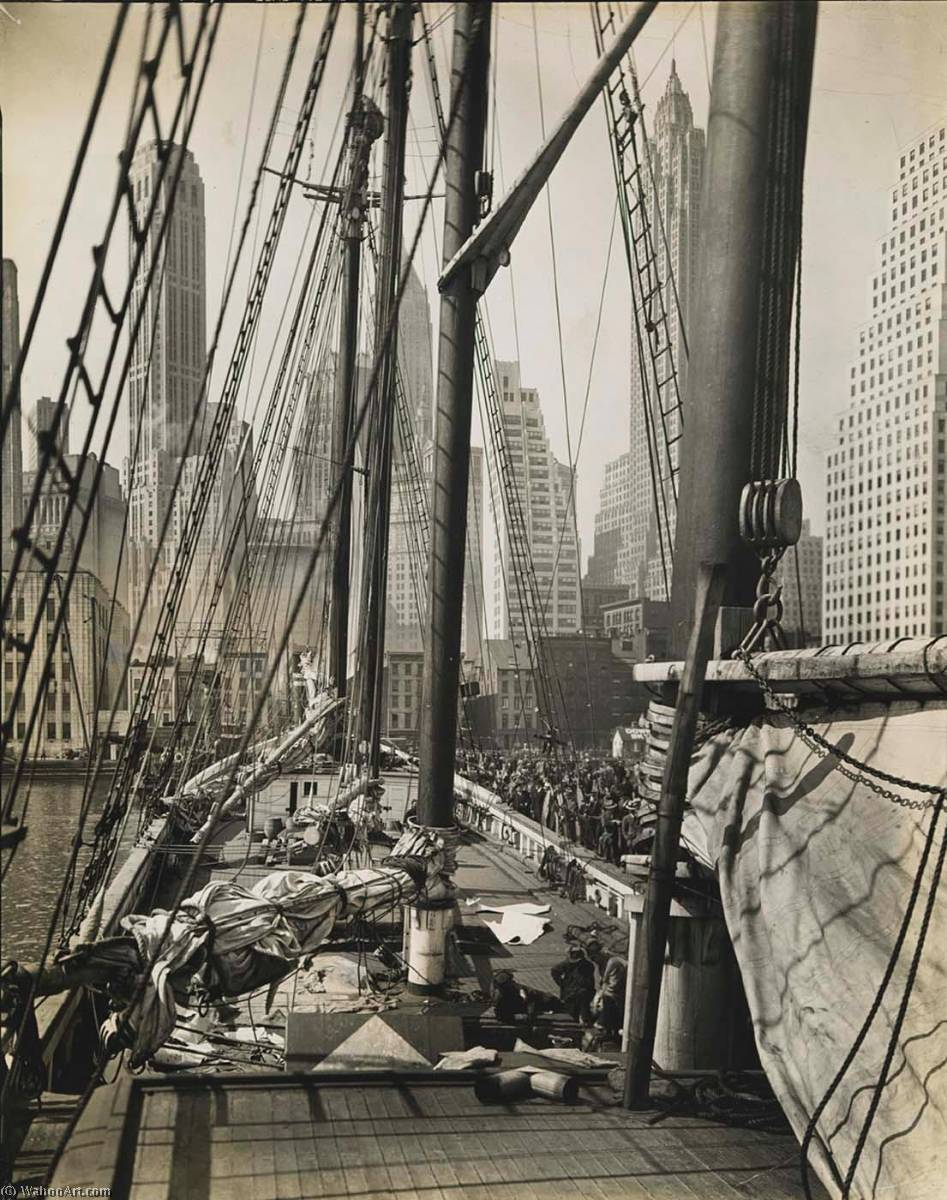 Theoline , Pier 11, East River, Manhattan, Print by Berenice Abbott (1898-1991, United States)