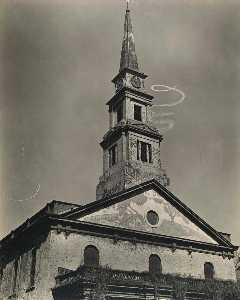 Berenice Abbott - St. Mark-s Church, with Skywriting Spiral, East 10th Street at 2nd Avenue