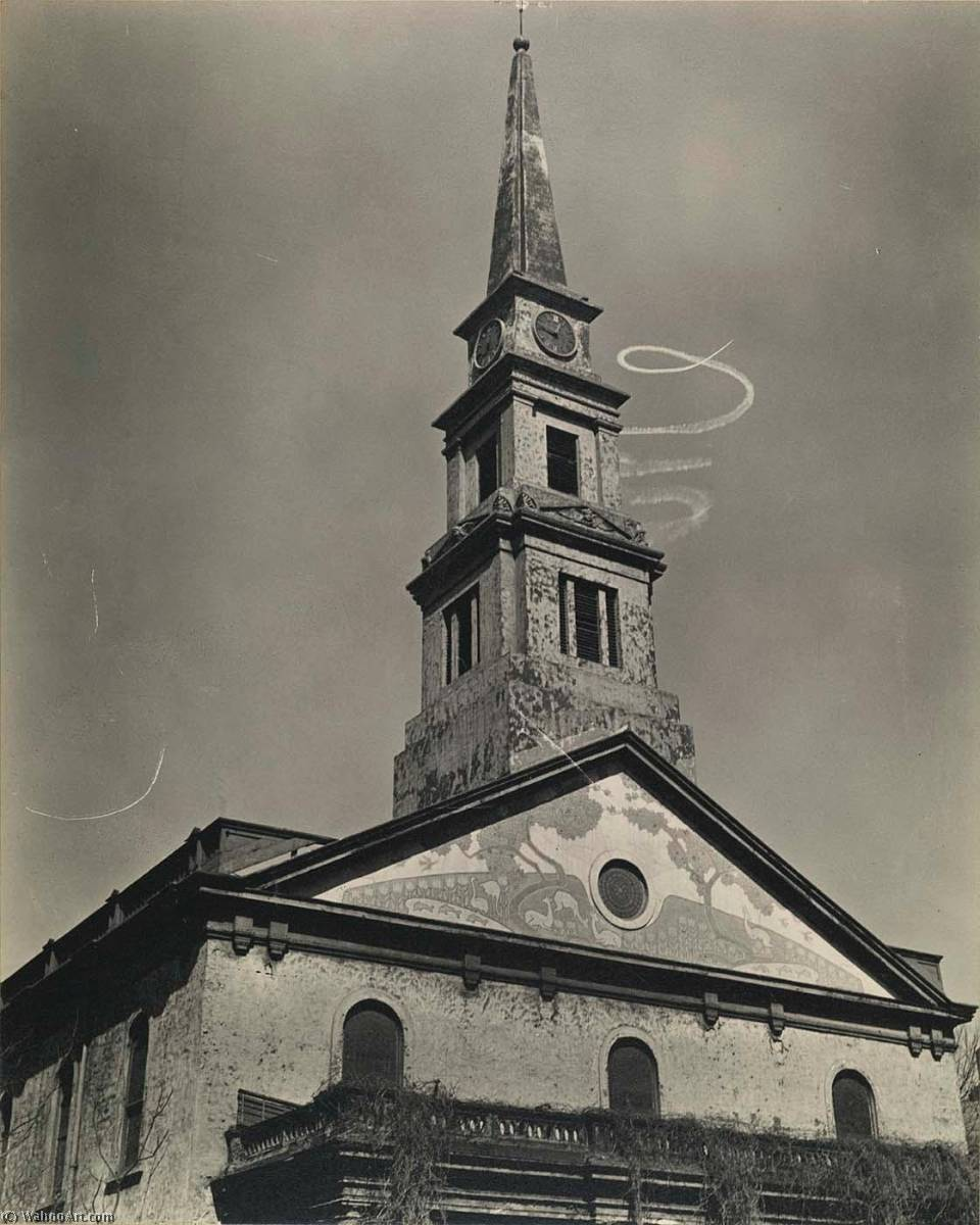St. Mark's Church, with Skywriting Spiral, East 10th Street at 2nd Avenue, Print by Berenice Abbott (1898-1991, United States)