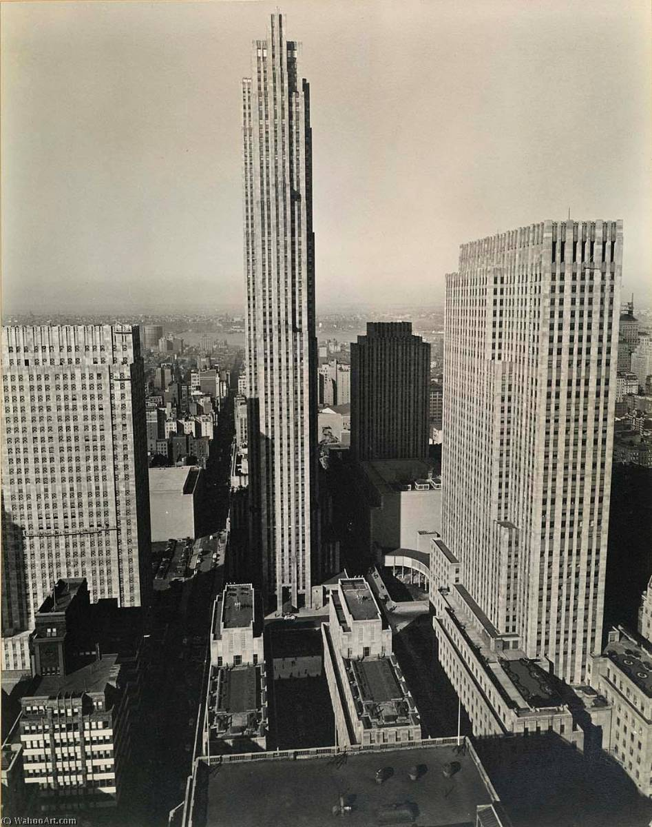 Rockefeller Center, from 444 Madison Avenue, 1937 by Berenice Abbott (1898-1991, United States) | Oil Painting | WahooArt.com