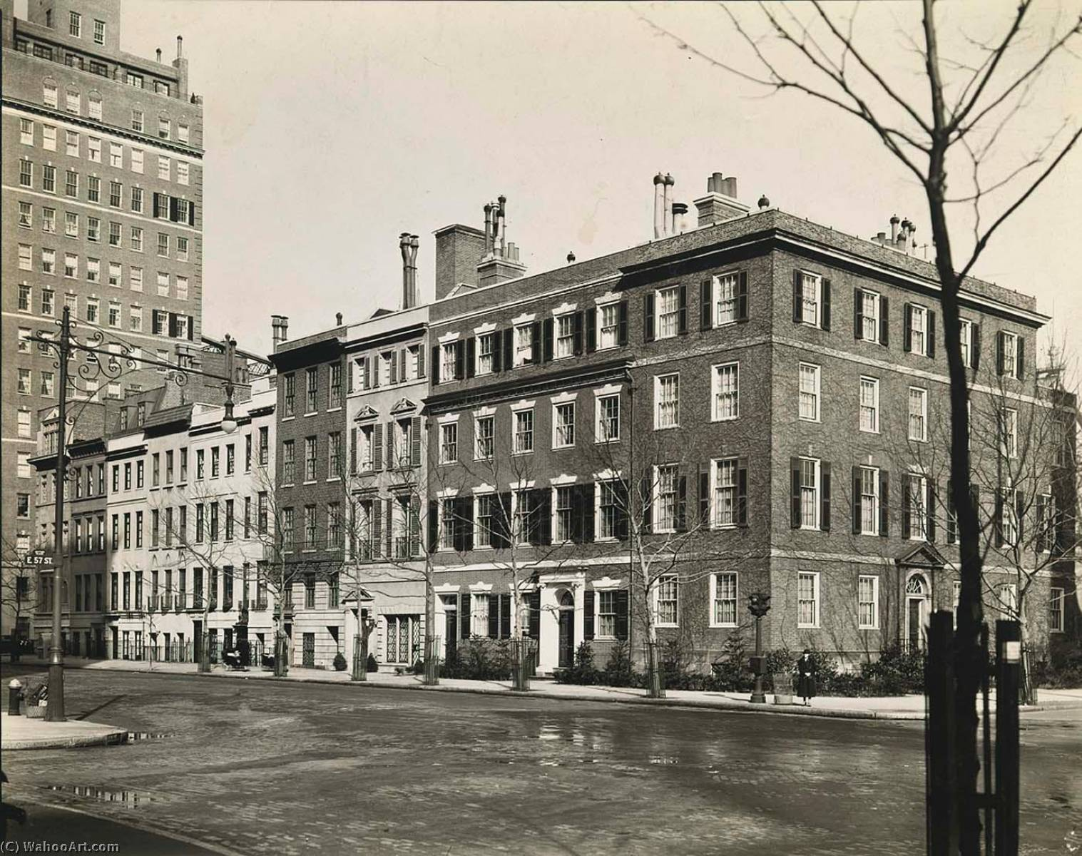 Sutton Place, Anne Morgan's Townhouse on Corner, Northeast Corner of East 57th Street, Manhattan, Print by Berenice Abbott (1898-1991, United States)