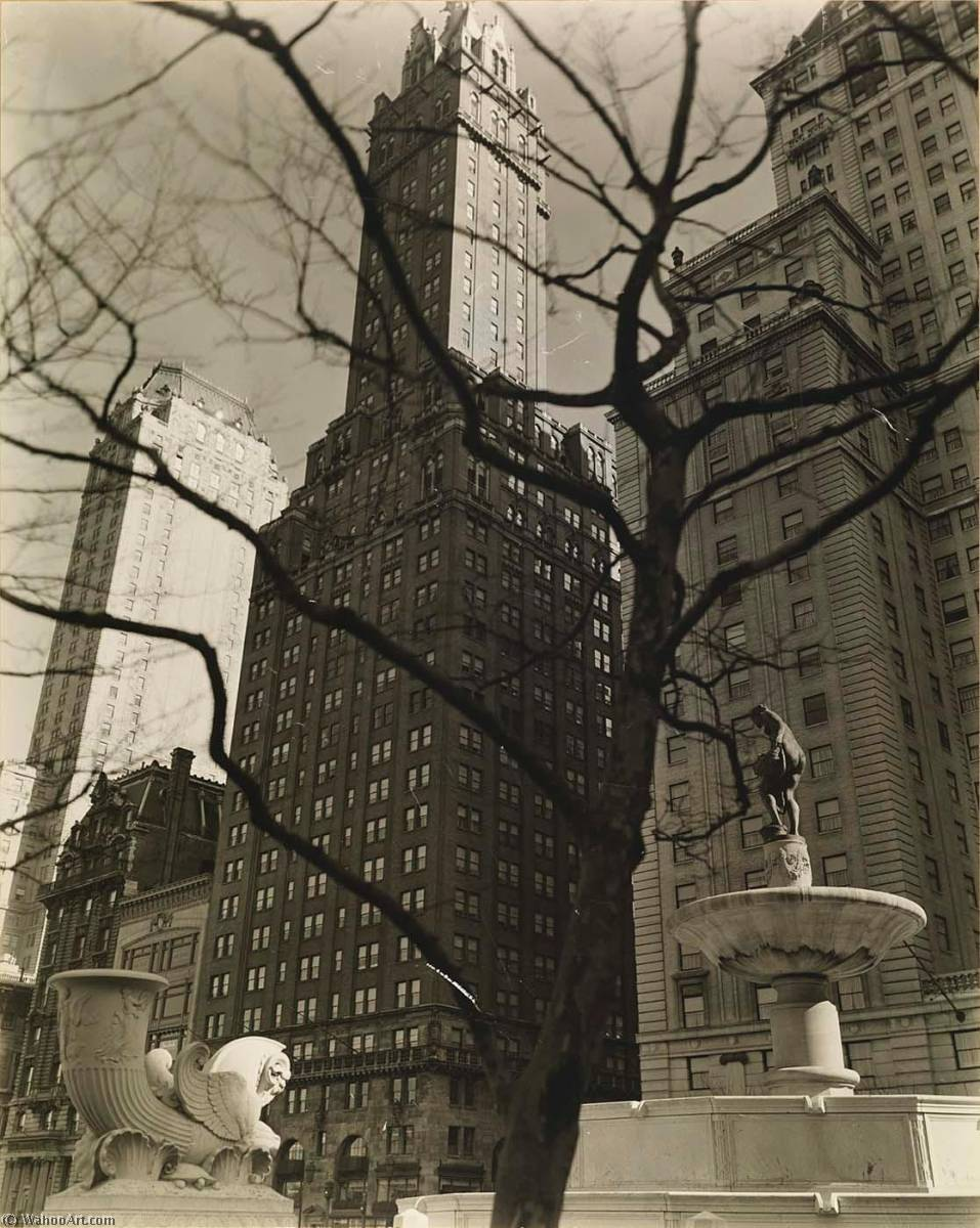 Central Park Plaza, from Fifth Avenue at 58th Street, Print by Berenice Abbott (1898-1991, United States)