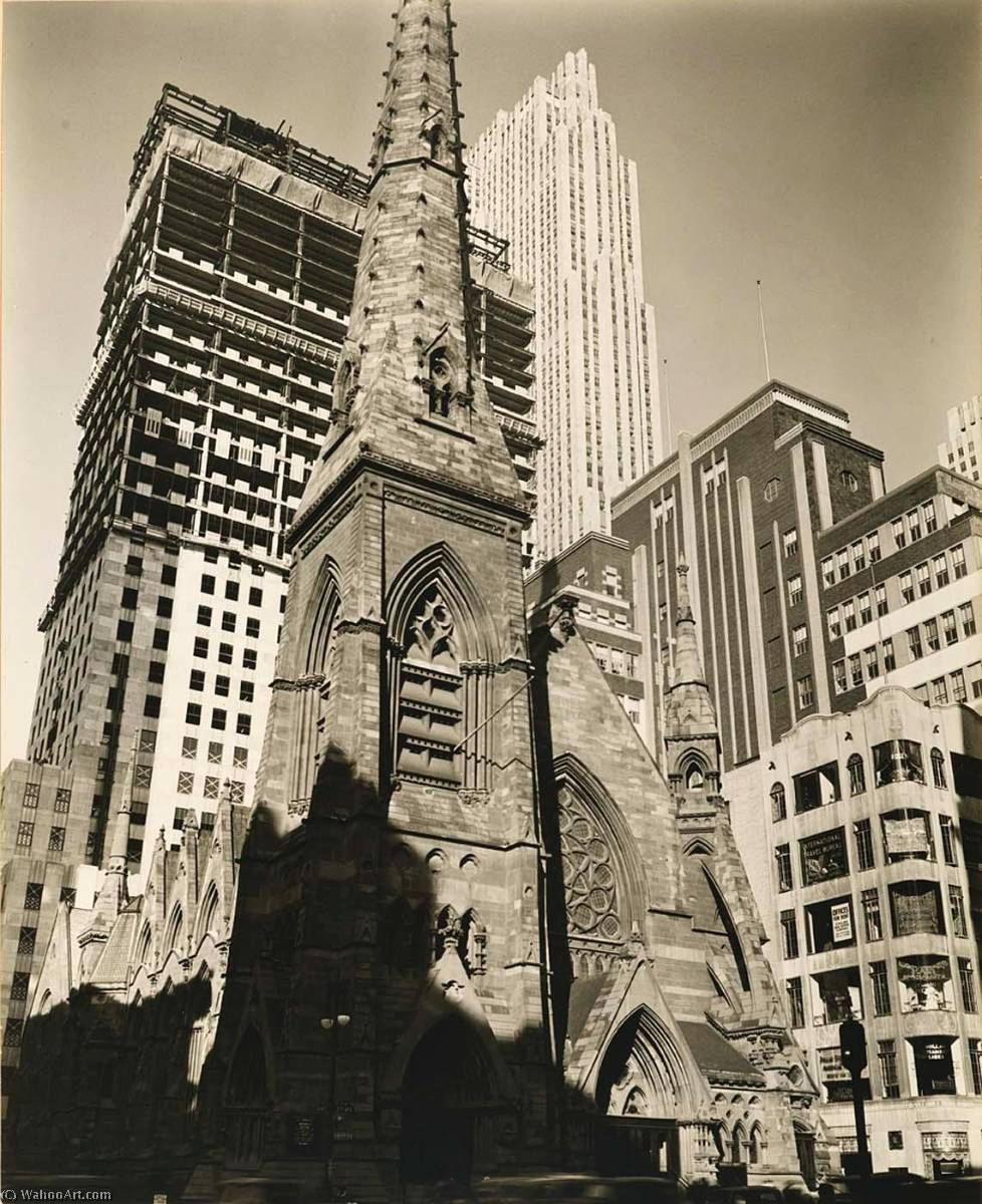 Rockefeller Center, Collegiate Church of St. Nicholas in Foreground, Print by Berenice Abbott (1898-1991, United States)
