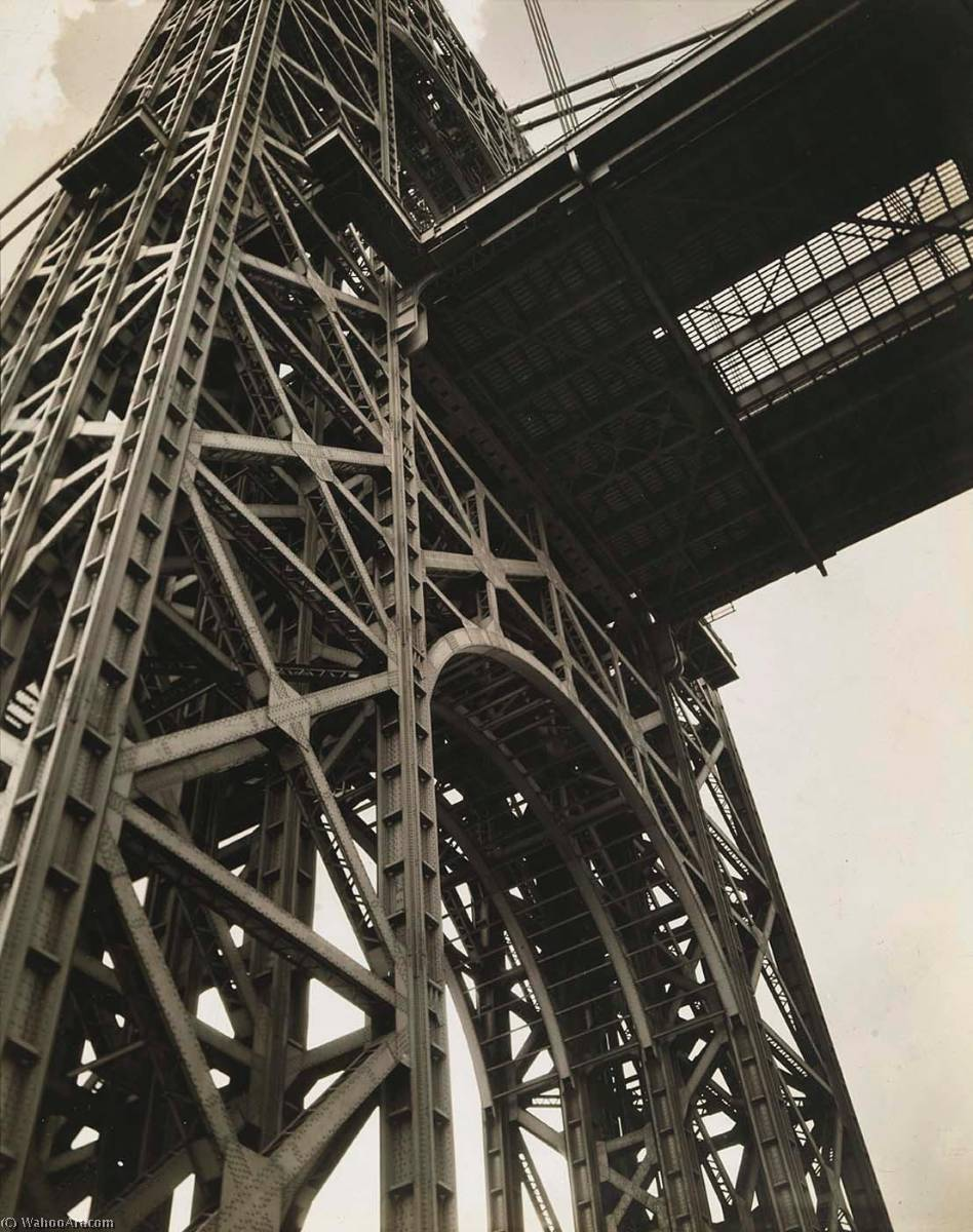 George Washington Bridge, Riverside Drive and 179th Street, Manhattan, 1936 by Berenice Abbott (1898-1991, United States) | Famous Paintings Reproductions | WahooArt.com