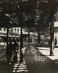 Berenice Abbott - El Second and Third Avenue Lines Bowery and Division Street, Manhattan
