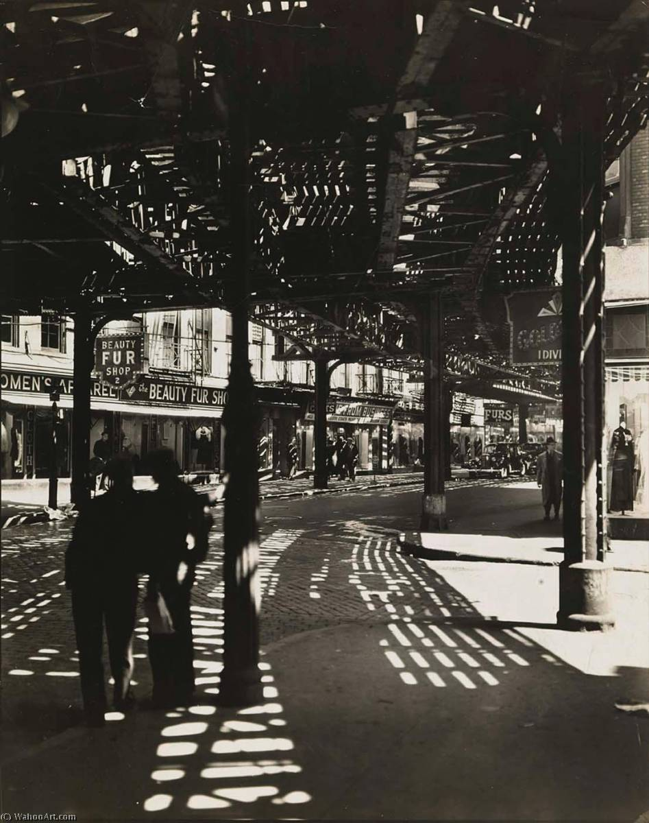 El Second and Third Avenue Lines Bowery and Division Street, Manhattan, Print by Berenice Abbott (1898-1991, United States)