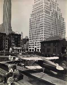 Berenice Abbott - Downtown Skyport, Foot of Wall Street