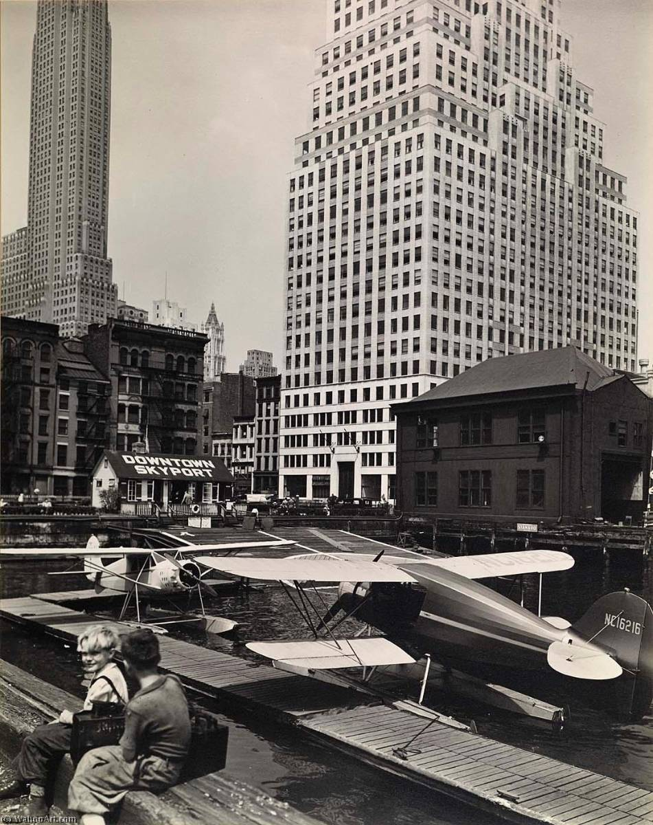 Downtown Skyport, Foot of Wall Street, Print by Berenice Abbott (1898-1991, United States)