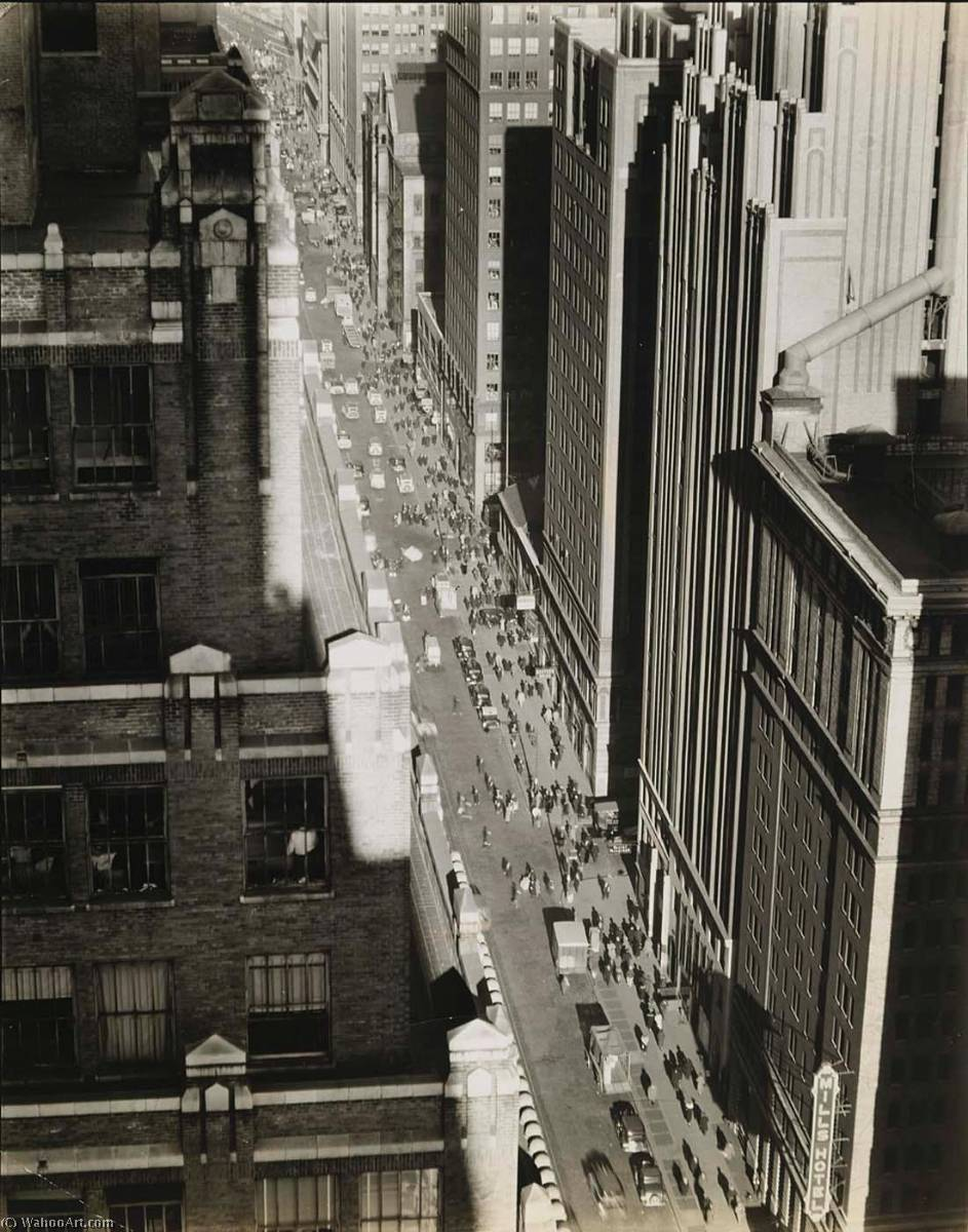 Seventh Avenue Looking North from 35th Street Manhattan, 1935 by Berenice Abbott (1898-1991, United States) | Oil Painting | WahooArt.com