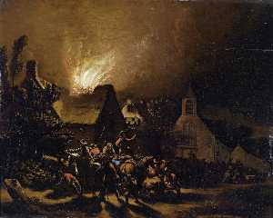 Egbert Lievensz Van Der Poel - Marauders in front of a burning village