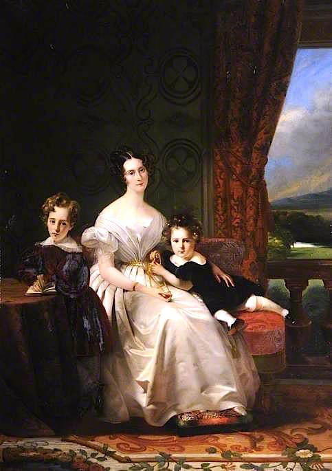 Order Reproductions | Mary Barbara, Lady Chichester, with Her Two Elder Sons by Claude Marie Paul Dubufe (1790-1864) | WahooArt.com