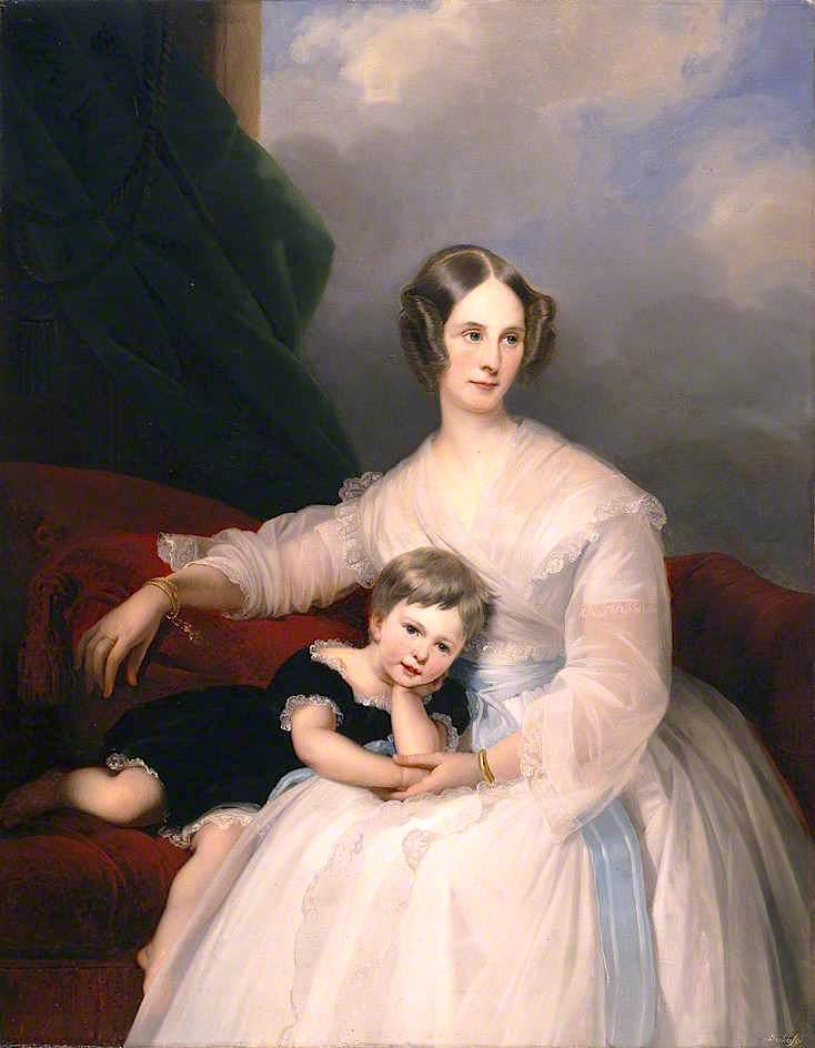 Mrs Hervey Francis de Montmorency and Her Daughter Frances, 1835 by Claude Marie Paul Dubufe (1790-1864) | Museum Art Reproductions Claude Marie Paul Dubufe | WahooArt.com