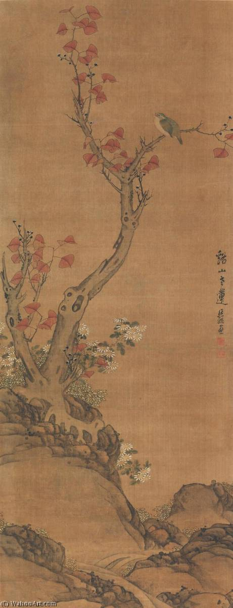 ORIOLE AND DAISIES by Chen Hongshou (1598-1652) | Museum Quality Reproductions | WahooArt.com