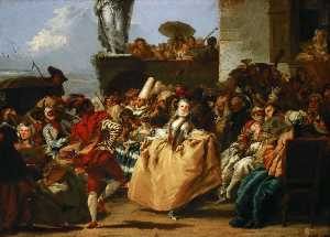 Giandomenico Tiepolo - The Minuet (also known as Carnival Scene)