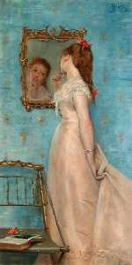 Alfred Émile Léopold Stevens - Girl Looking in the Mirror