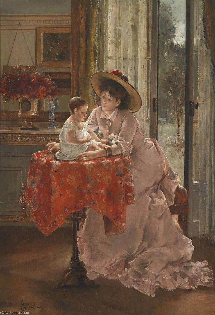 The Happy Mother by Alfred Émile Léopold Stevens (1823-1906) | Museum Art Reproductions Alfred Émile Léopold Stevens | WahooArt.com