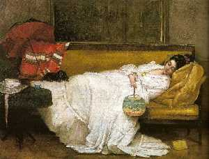 Alfred Émile Léopold Stevens - Girl in a white dress resting on a sofa