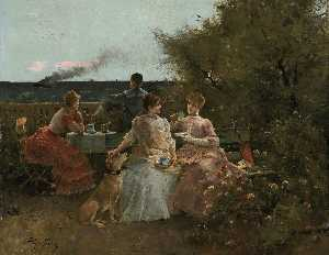 Alfred Émile Léopold Stevens - Ladies on a Terrace, Normandy