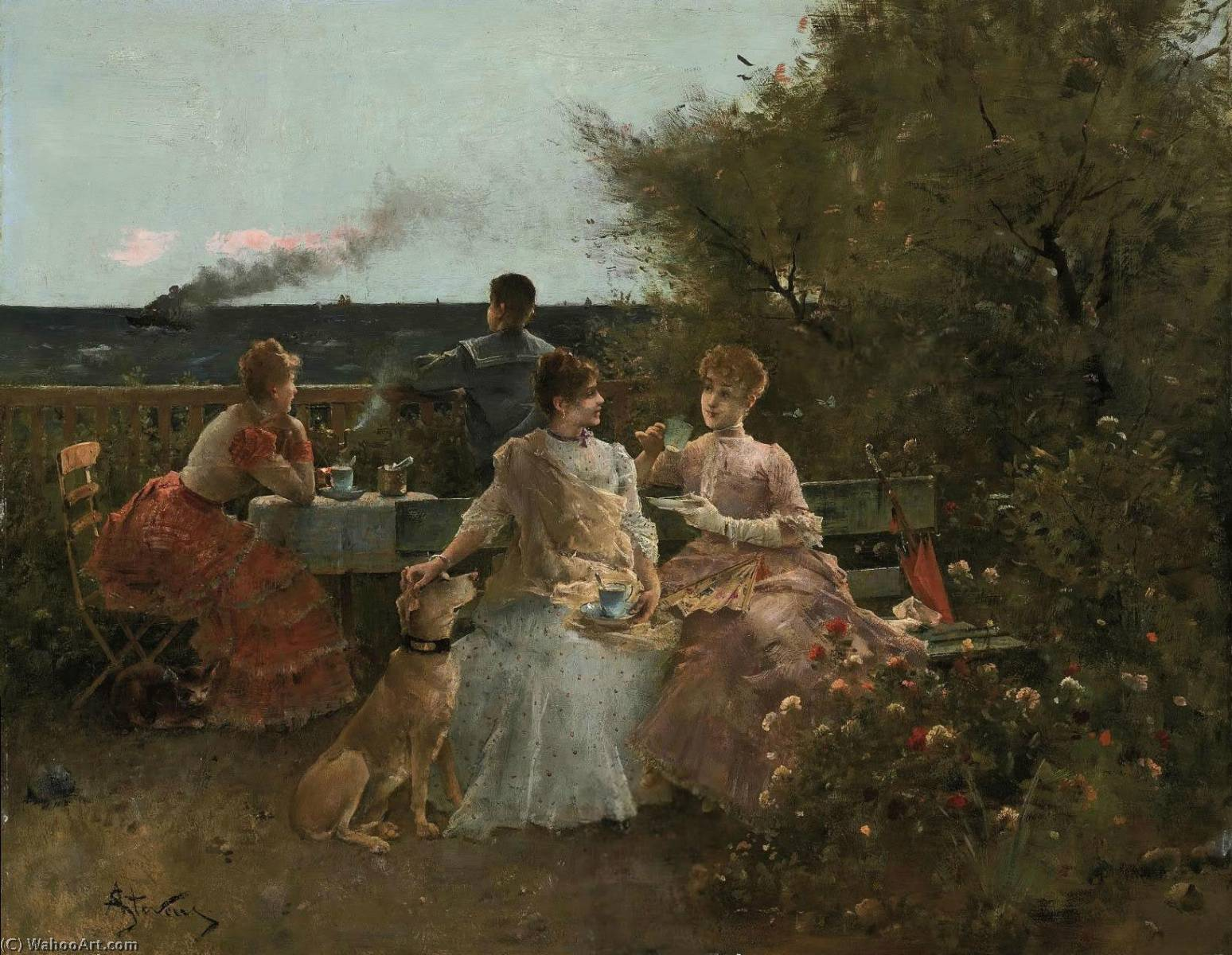 Ladies on a Terrace, Normandy by Alfred Émile Léopold Stevens (1823-1906) | Art Reproductions Alfred Émile Léopold Stevens | WahooArt.com