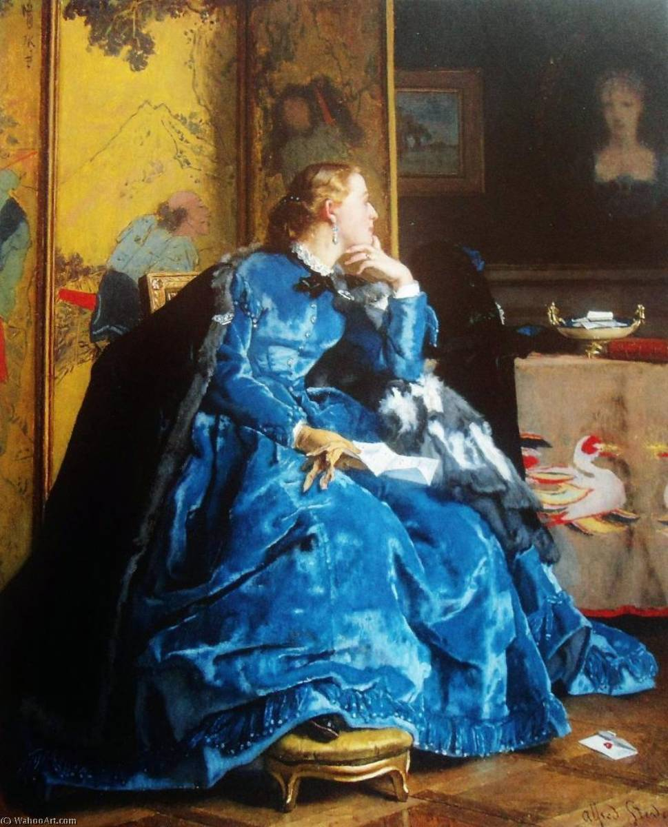 The Duchess (also known as The Blue Dress), 1866 by Alfred Émile Léopold Stevens (1823-1906) | Reproductions Alfred Émile Léopold Stevens | WahooArt.com