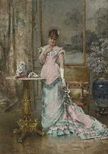 Order Reproductions | L`Attente by Alfred Émile Léopold Stevens (1823-1906) | WahooArt.com