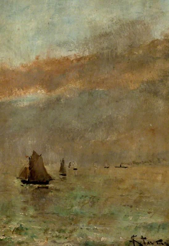 Fishing Boats at Dusk by Alfred Émile Léopold Stevens (1823-1906) | Museum Quality Copies Alfred Émile Léopold Stevens | WahooArt.com