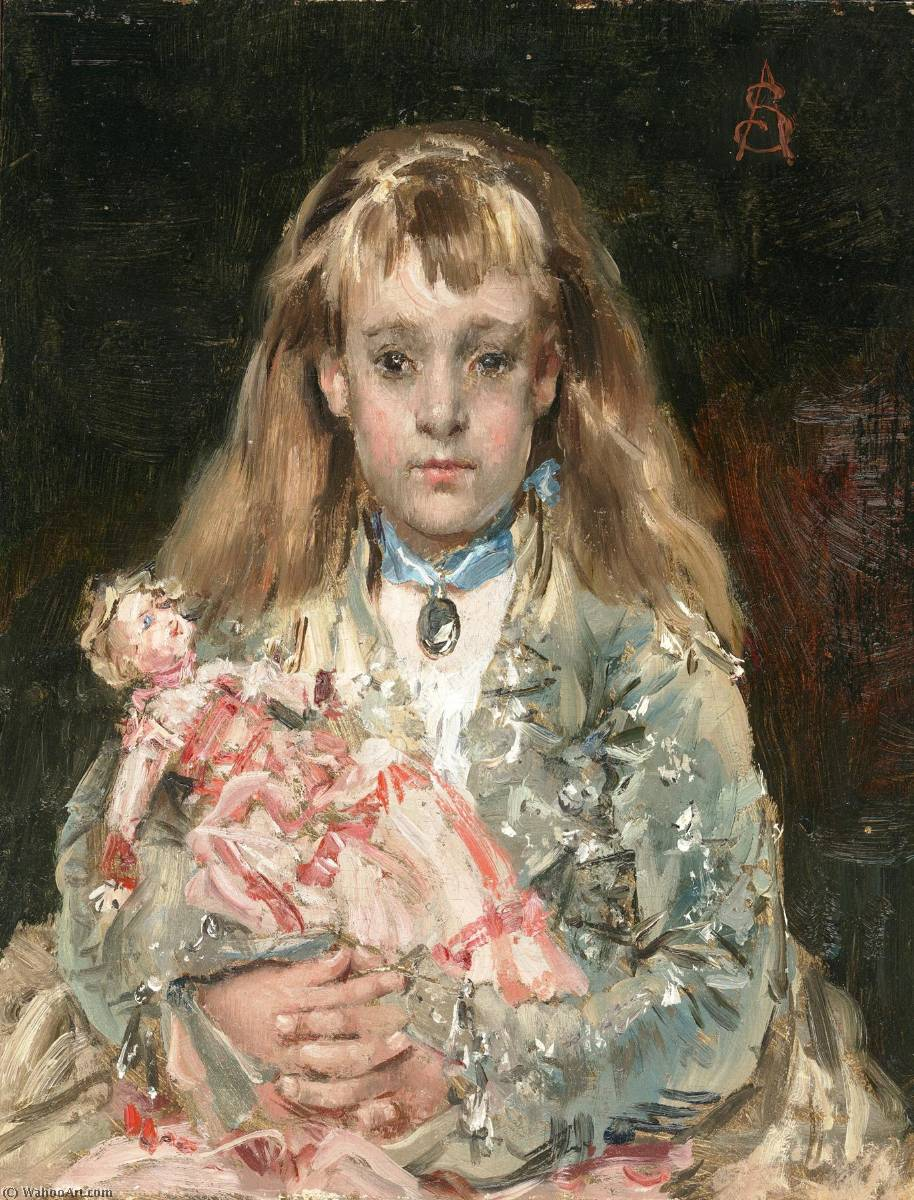 Girl with a Doll by Alfred Émile Léopold Stevens (1823-1906) | Art Reproductions Alfred Émile Léopold Stevens | WahooArt.com