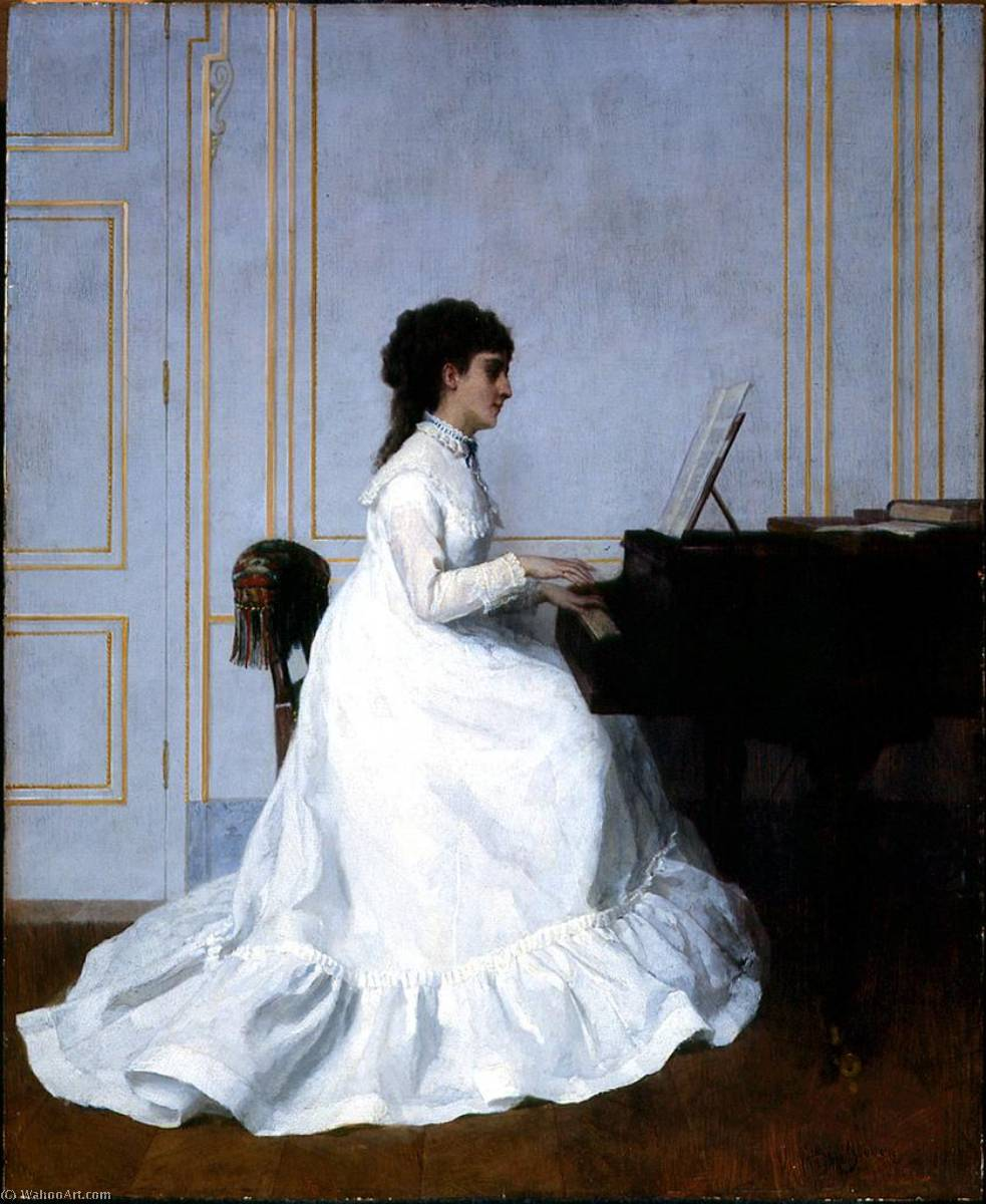 Order Paintings Reproductions | Eva Gonzales at the Piano, 1879 by Alfred Émile Léopold Stevens (1823-1906) | WahooArt.com