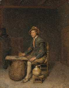 Philips De Koninck - Seated Hunter in a Tavern