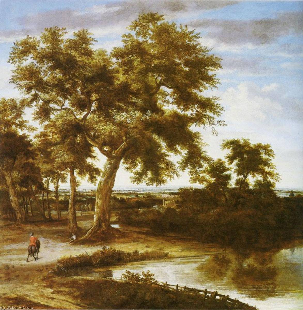 Landscape with a large Tree by Philips De Koninck (1619-1688) | Art Reproductions Philips De Koninck | WahooArt.com