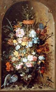 Roelant Savery - Large flower still life with Crown Imperial
