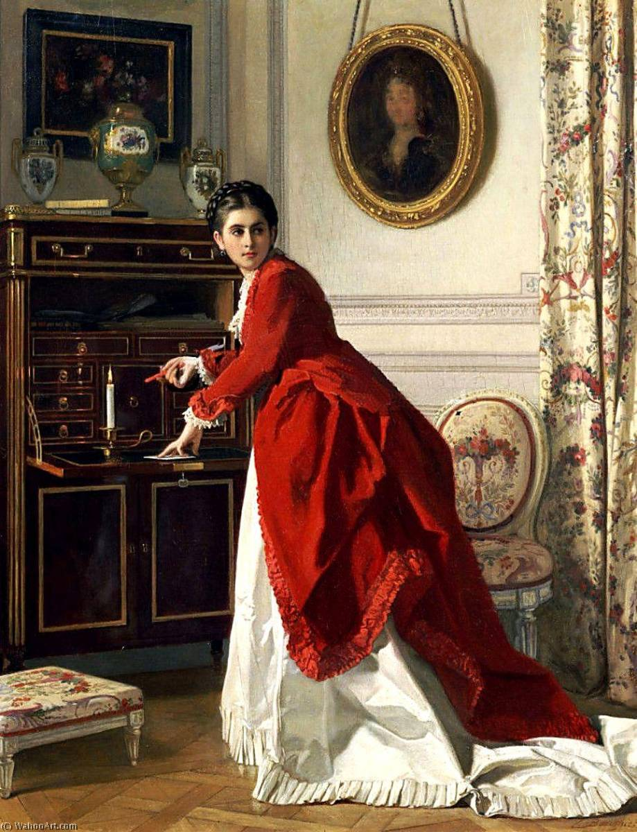 The Letter by Charles Baugniet (1814-1886) | Museum Art Reproductions Charles Baugniet | WahooArt.com