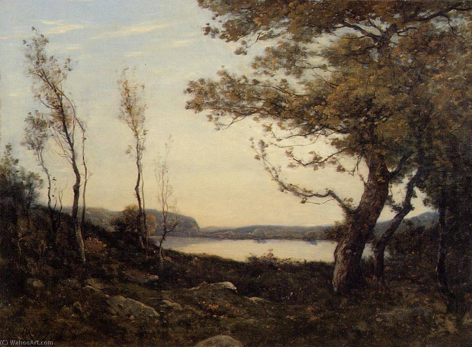 Landscape with Lake, Oil On Canvas by Henri-Joseph Harpignies (1819-1916, France)