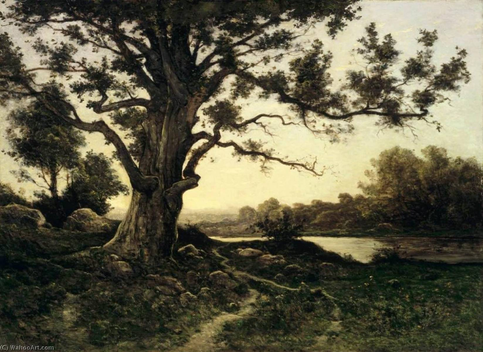 Oak, 1895 by Henri-Joseph Harpignies (1819-1916, France) | Museum Quality Reproductions | WahooArt.com