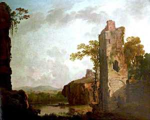 George Barret The Elder - Landscape with a Ruined Tower