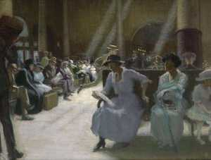 Edmund Charles Tarbell - In the Station Waiting Room, Boston