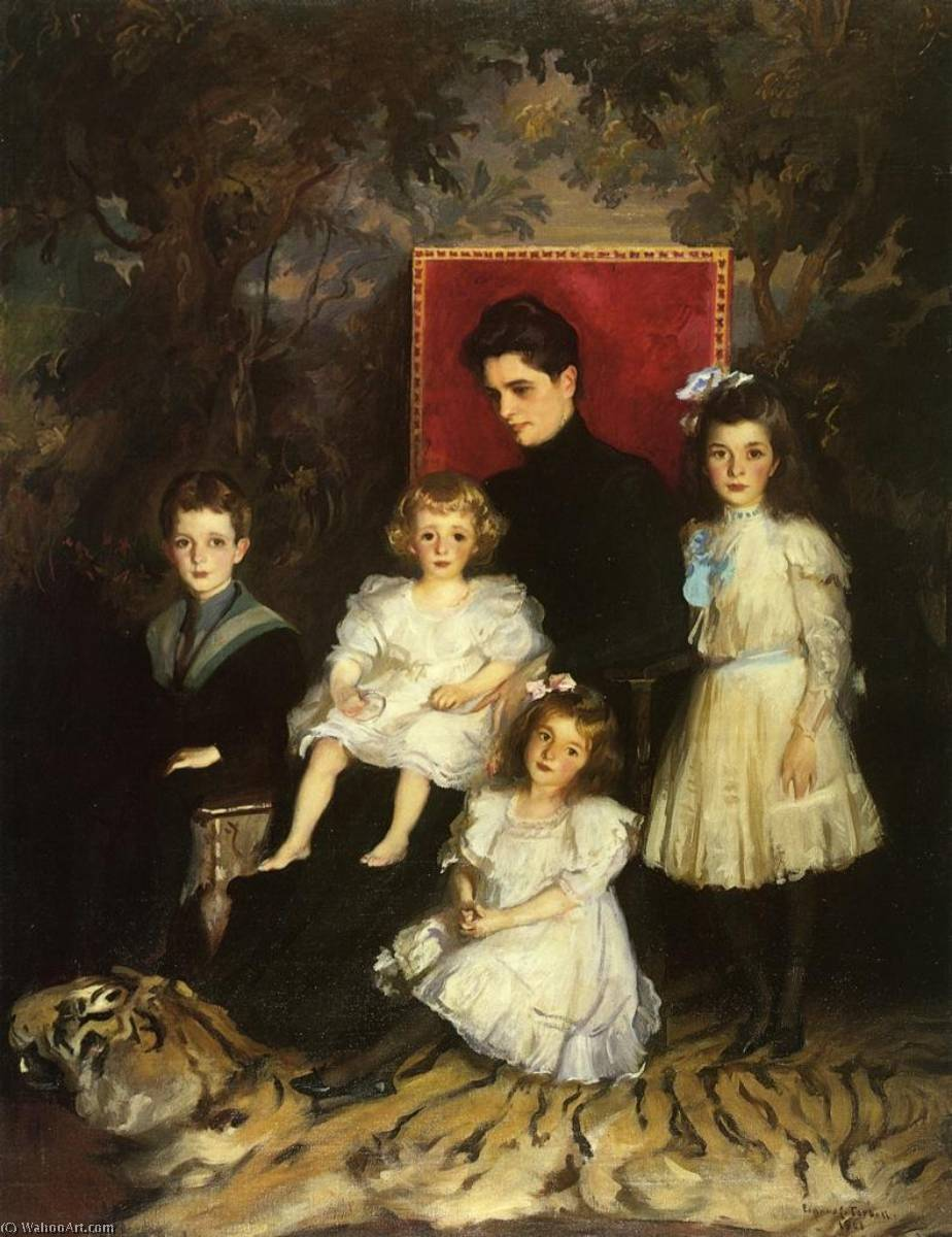 Order Museum Quality Reproductions : Mrs. Horatio Nelson Slater and Her Children, 1901 by Edmund Charles Tarbell (1862-1938, United States) | WahooArt.com