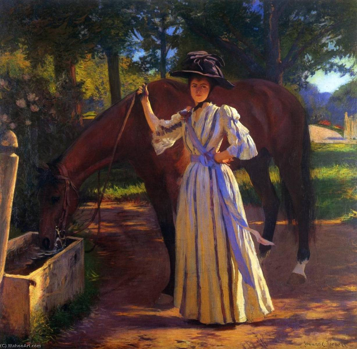 Order Art Reproduction : Girl and Horse, 1892 by Edmund Charles Tarbell (1862-1938, United States) | WahooArt.com