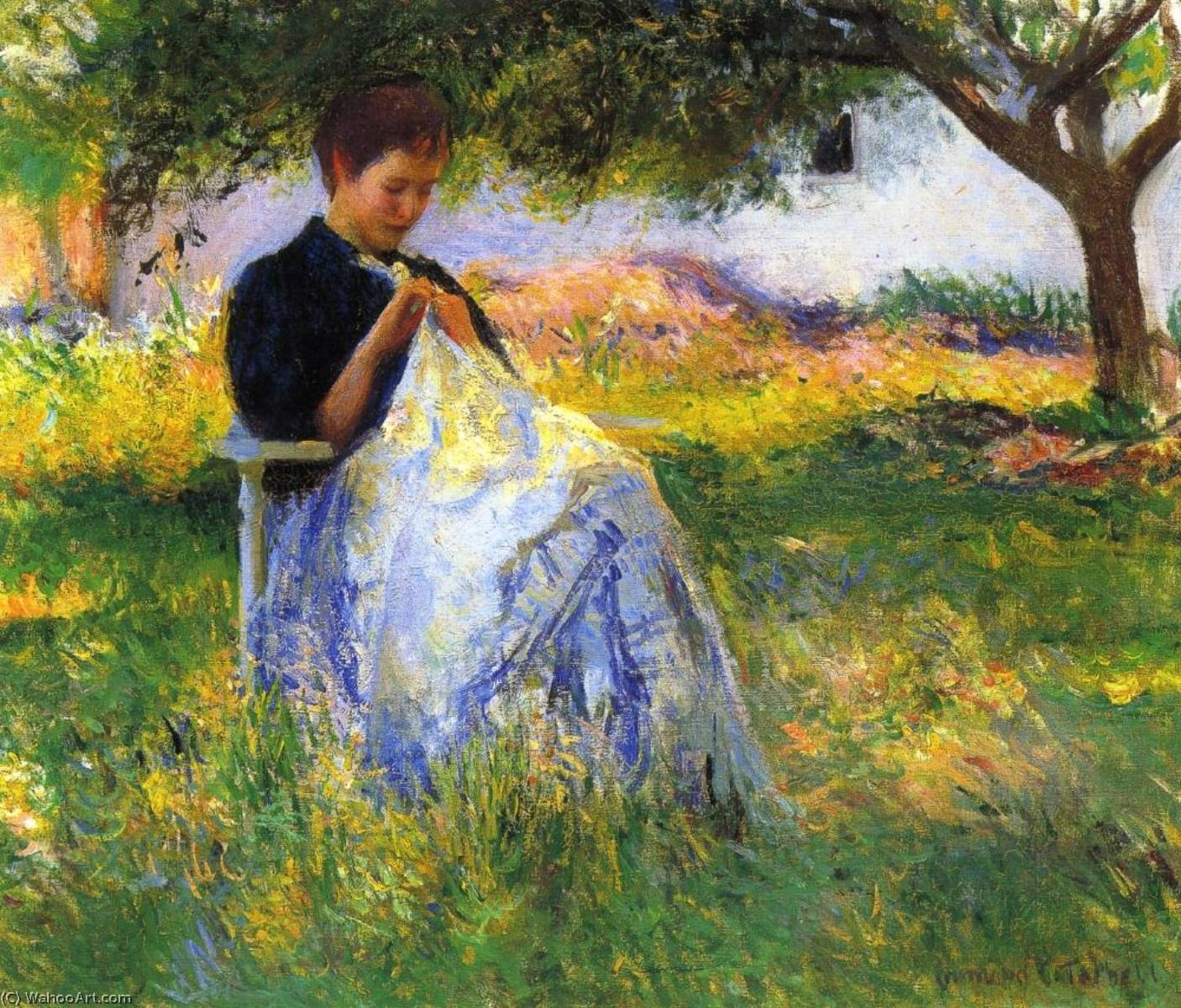 A Girl Sewing in an Orchard, 1891 by Edmund Charles Tarbell (1862-1938, United States) | Famous Paintings Reproductions | WahooArt.com