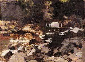 Carl Eduard Schuch - German Wildbach, Saut du Doubs