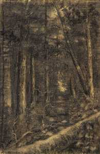 Edward Mitchell Bannister - Landscape with Path through Forest
