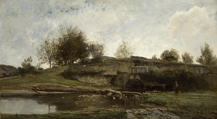 Ecluse dans la Vallee d'Optivoz (Isere), Oil On Canvas by Charles François Daubigny (1817-1878, France)