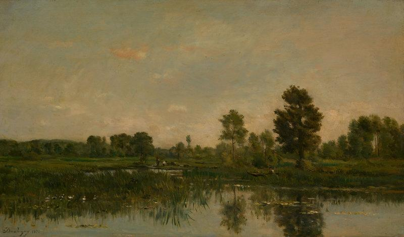 The Marsh, 1871 by Charles François Daubigny (1817-1878, France) | Oil Painting | WahooArt.com