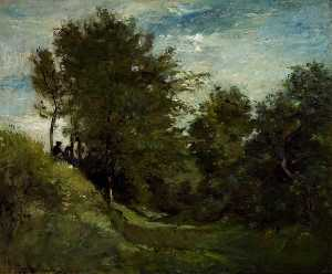 Charles François Daubigny - Landscape with Figures Seated on a Bank