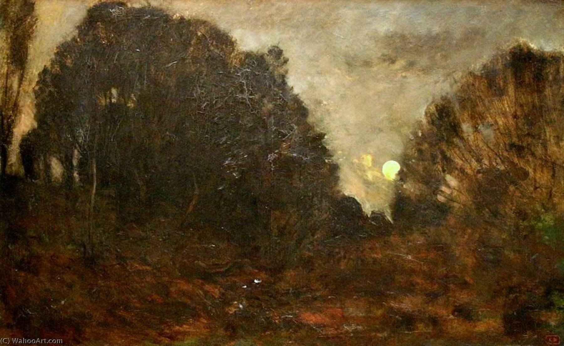 Moon Rising in the Forest of Fontainbleau by Charles François Daubigny (1817-1878, France) | Oil Painting | WahooArt.com