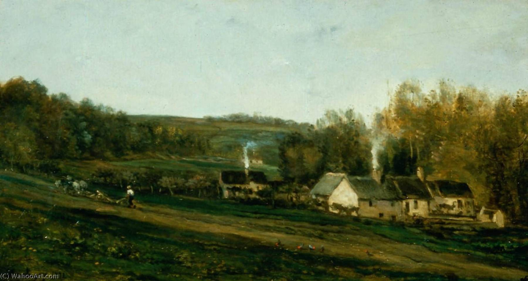 House of Mère Bazot, Valmondois, Oil On Panel by Charles François Daubigny (1817-1878, France)