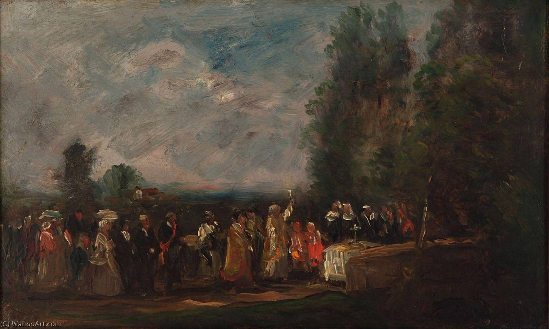 Landscape with Figures, Oil On Panel by Charles François Daubigny (1817-1878, France)