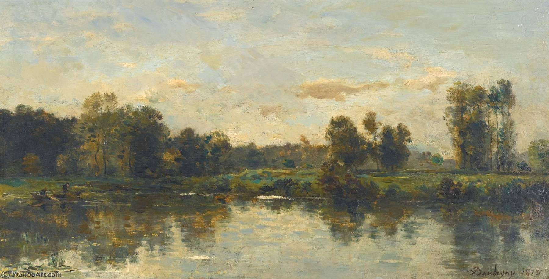 Bords du fleuve by Charles François Daubigny (1817-1878, France) | Oil Painting | WahooArt.com